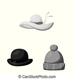 Vector design of hat and helmet icon. Collection of hat and...