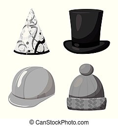 Vector design of hat and helmet icon. Set of hat and...