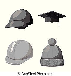 Vector design of hat and helmet symbol. Collection of hat...