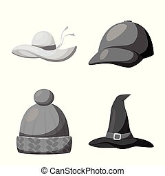 Vector design of hat and helmet symbol. Set of hat and...