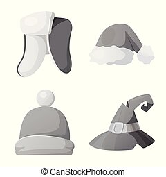 Vector design of headgear and cap logo. Set of headgear and...