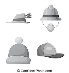 Vector design of headgear and cap sign. Set of headgear and...