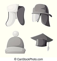 Vector design of headgear and cap symbol. Set of headgear...