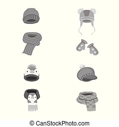 Vector design of headwear and fashion icon. Collection of...