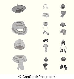 Vector design of headwear and fashion icon. Set of headwear...