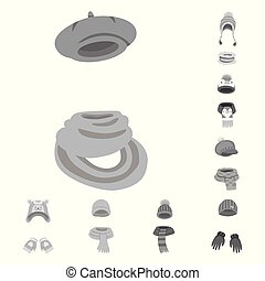 Vector design of headwear and fashion symbol. Collection of...