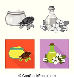 Vector design of healthy and vegetable logo. Collection of healthy and agriculture stock vector illustration.