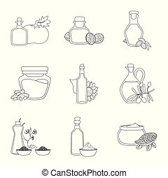 Vector design of healthy and vegetable logo. Set of healthy...