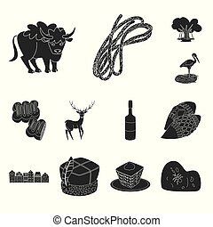Vector design of heritage and landmarks sign. Collection of heritage and travel stock vector illustration.