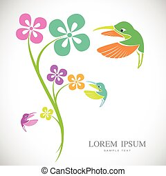 Vector design of hummingbird and flowers on white background