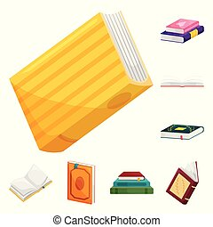 Vector design of library and bookstore logo. Set of library and literature vector icon for stock.