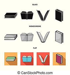 Vector design of library and textbook icon. Collection of library and school stock vector illustration.