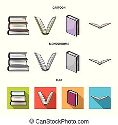 Vector design of library and textbook icon. Set of library and school stock vector illustration.