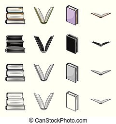 Vector design of library and textbook sign. Collection of library and school stock vector illustration.