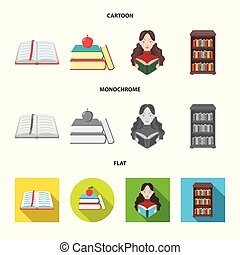Vector design of library and textbook symbol. Collection of library and school stock vector illustration.