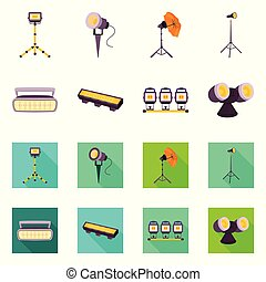 Vector design of light and theater icon. Collection of light and concert stock symbol for web.
