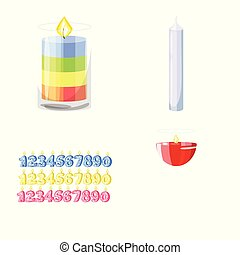 Vector design of light and wax logo. Collection of light and ceremony vector icon for stock.