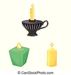 Vector design of light and wax logo. Set of light and ceremony vector icon for stock.