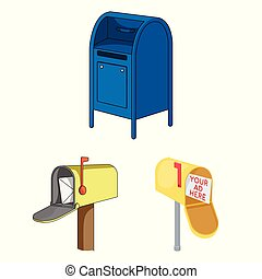 Vector design of mailbox and letter icon. Set of mailbox and mail vector icon for stock.