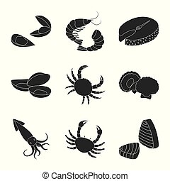Vector design of market and marine icon. Set of market and sea vector icon for stock.