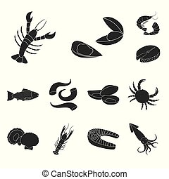 Vector design of market and marine logo. Collection of market and sea stock symbol for web.