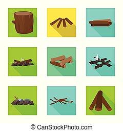 Vector design of material and logging symbol. Set of material and forestry stock vector illustration.
