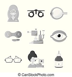 Vector design of medicine and technology icon. Set of medicine and eyesight stock symbol for web.
