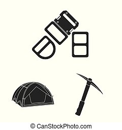 Vector design of mountaineering and peak icon. Collection of...