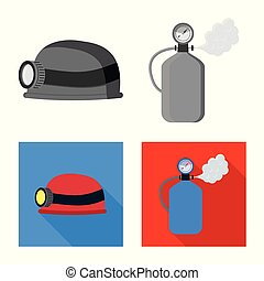 Vector design of mountaineering and peak icon. Collection of mountaineering and camp vector icon for stock.