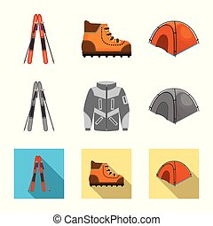 Vector design of mountaineering and peak icon. Set of ...