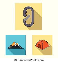 Vector design of mountaineering and peak logo. Set of ...