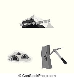 Vector design of mountaineering and peak sign. Set of ...