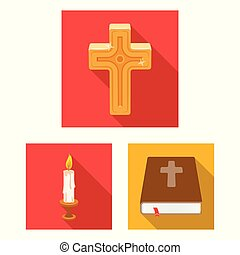 Vector design of muslim and items icon. Set of muslim and candle stock symbol for web.
