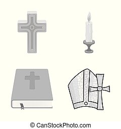 Vector design of muslim and items sign. Set of muslim and candle stock vector illustration.
