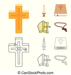 Vector design of muslim and items symbol. Set of muslim and candle stock vector illustration.
