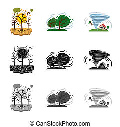 Vector design of natural and disaster logo. Collection of...