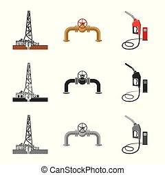 Vector design of oil and gas logo. Collection of oil and...