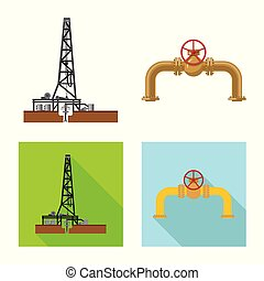 Vector design of oil and gas sign. Collection of oil and...