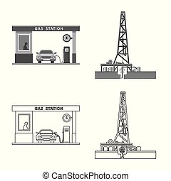 Vector design of oil and gas sign. Set of oil and petrol...