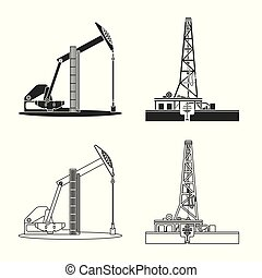 Vector design of oil and gas symbol. Set of oil and petrol...