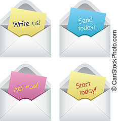 paper notes in envelopes