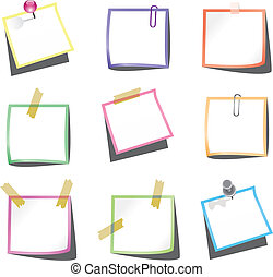 paper notes with push pin and paperclip - vector design of...