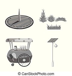 Vector design of park and city icon. Set of park and street stock vector illustration.