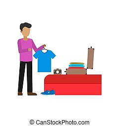 Vector design of people preparing for a holiday trip