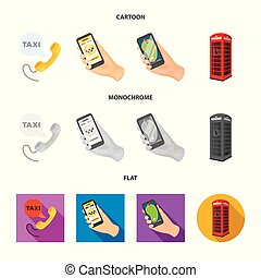 Vector design of phone and screen icon. Collection of phone and cellphone stock vector illustration.