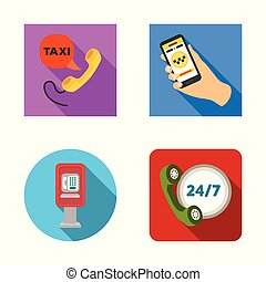 Vector design of phone and screen logo. Collection of phone and cellphone stock symbol for web.
