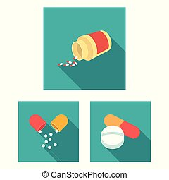 Vector design of pill and medicine icon. Set of pill and vitamin stock vector illustration.