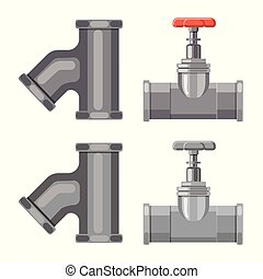 Vector design of pipe and tube sign. Collection of pipe and pipeline stock vector illustration.