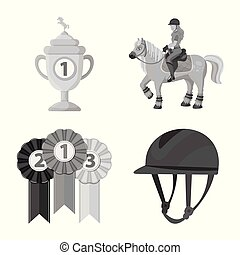 Vector design of race and horse sign. Collection of race and racing vector icon for stock.