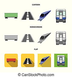 Vector design of railroad and train logo. Collection of railroad and way vector icon for stock.